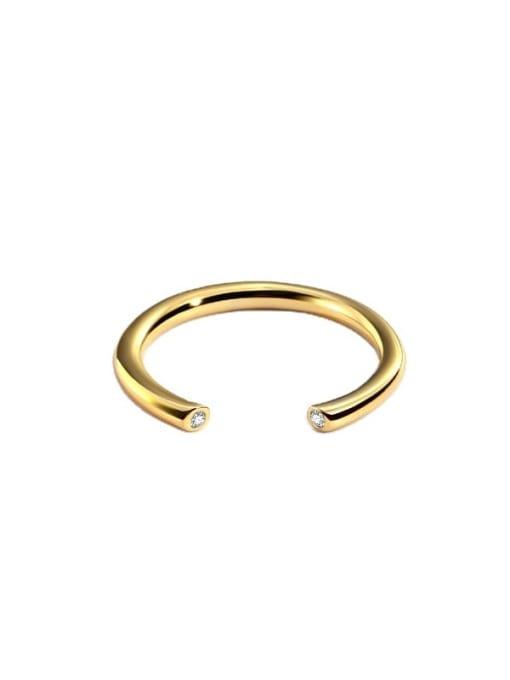CHARME Brass Rhinestone Geometric Minimalist Band Ring 4