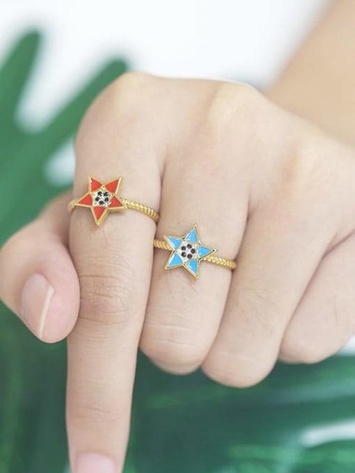 CC Brass Enamel Star Minimalist Band Ring 1