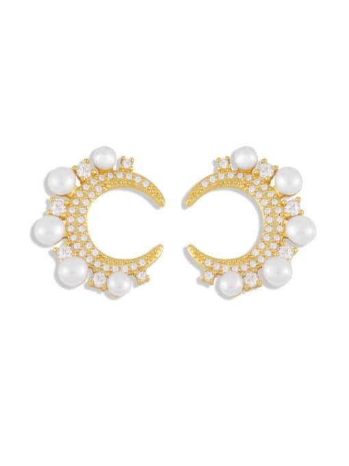 CC Brass Cubic Zirconia Moon Dainty Stud Earring