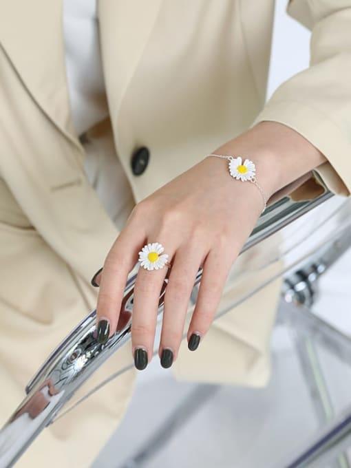 DAKA 925 Sterling Silver Enamel Flower Minimalist Band Ring 1
