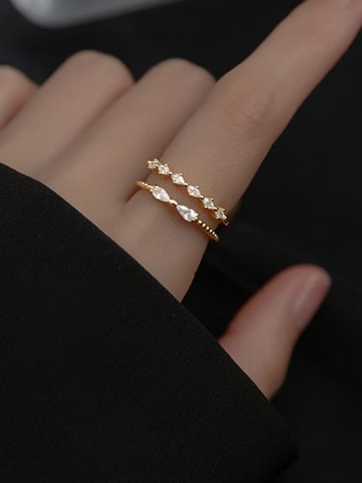 Rosh 925 Sterling Silver Cubic Zirconia Geometric Minimalist Stackable Ring 1