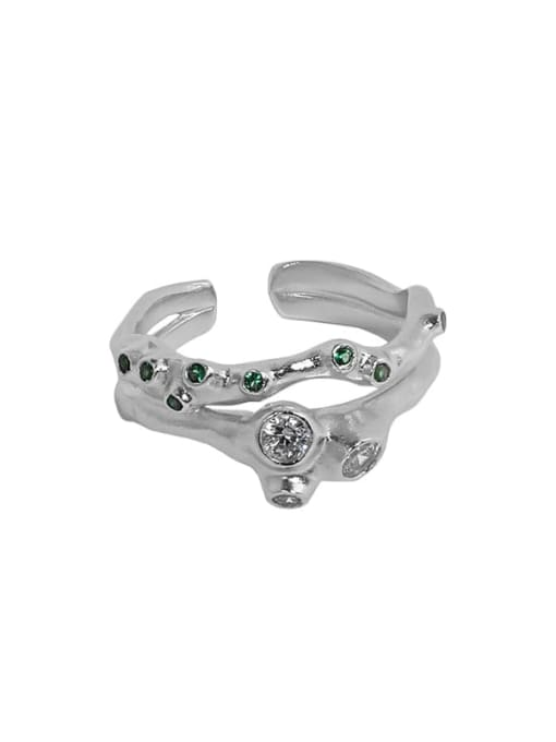 DAKA 925 Sterling Silver Rhinestone Irregular Vintage Stackable Ring 3