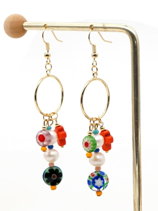 ZZ E200056C Stainless steel Freshwater Pearl Multi Color Glass beads Ethnic Long   Hook Earring