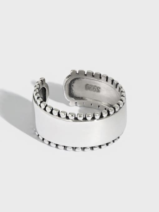DAKA 925 Sterling Silver Geometric Vintage Band Ring 0