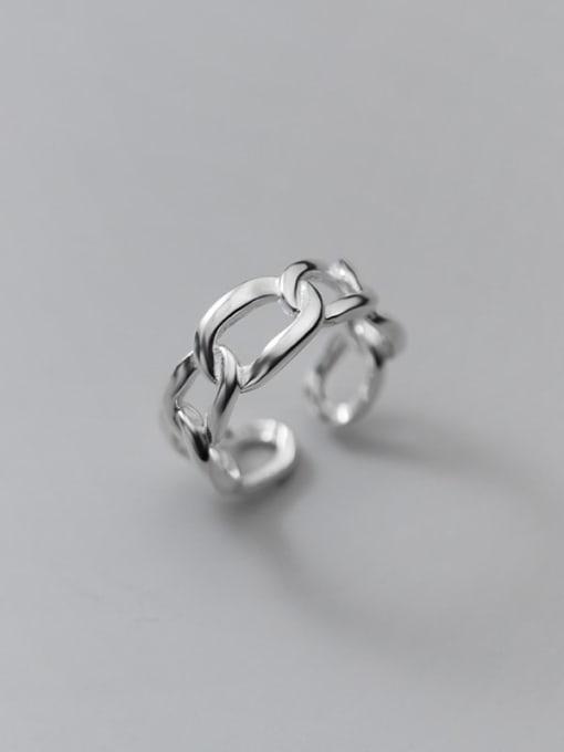 Rosh 925 Sterling Silver Hollow Geometric Minimalist Band Ring 0