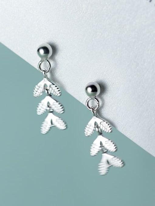 Rosh 925 Sterling Silver Leaf Minimalist Drop Earring 0
