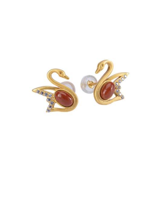 DEER 925 Sterling Silver Carnelian Swan Vintage Stud Earring