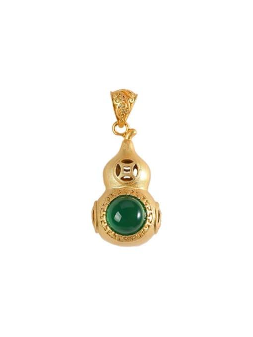 DEER 925 Sterling Silver Jade Cute Irregular Pendant