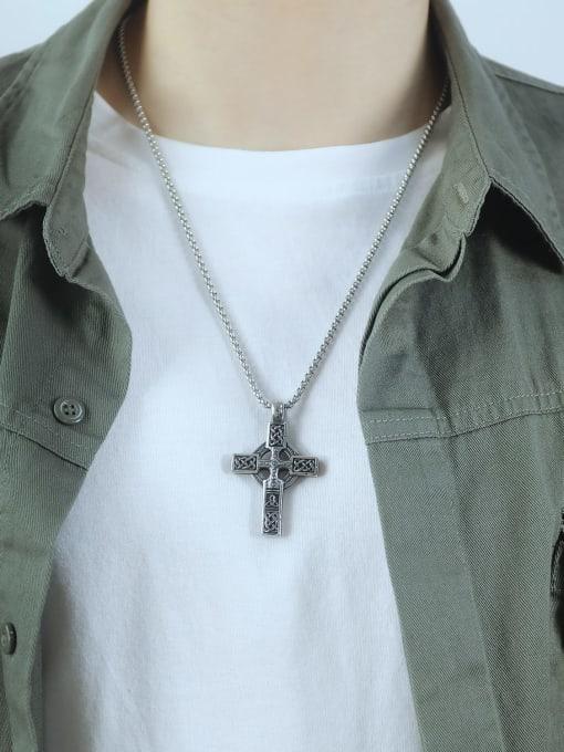 Open Sky Titanium Steel Vintage Cross Pendant 1