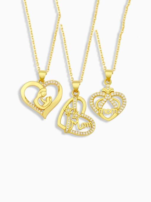 CC Brass Cubic Zirconia  Minimalist Love English Letter Mom Necklace
