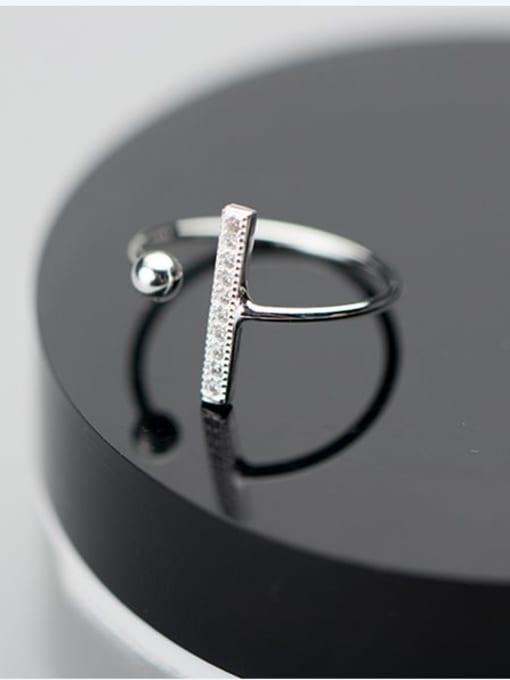 Rosh 925 Sterling Silver Cubic Zirconia Geometric Minimalist Band Ring
