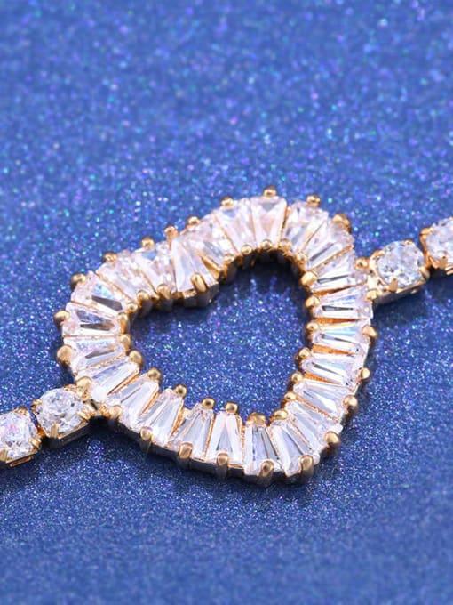 CC Brass Cubic Zirconia Heart Dainty Adjustable Bracelet 3