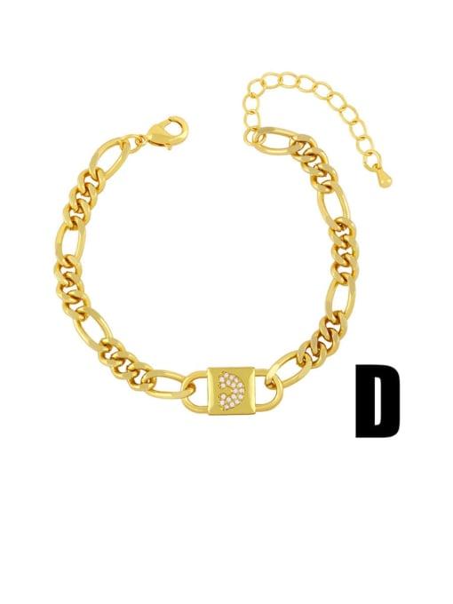D Brass Cubic Zirconia Moon Vintage Link Bracelet