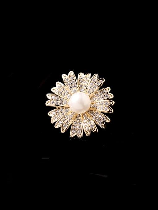 Luxu Brass Cubic Zirconia Flower Minimalist Brooch 0