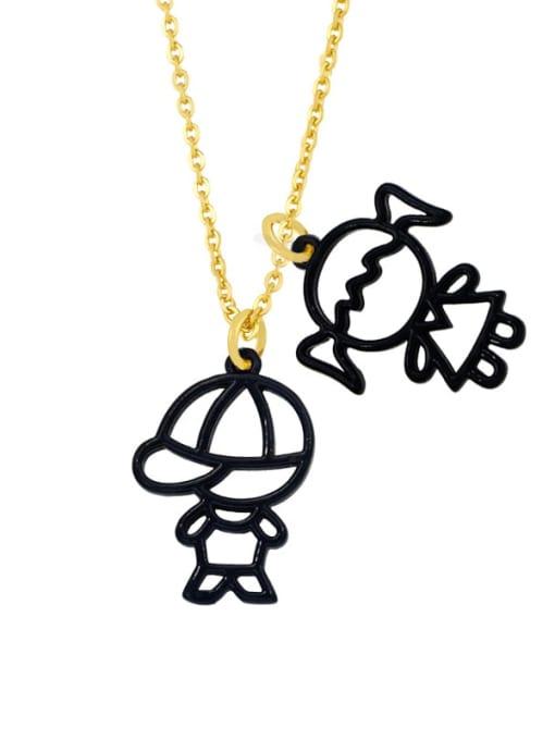 CC Brass Enamel Cute Angel  Pendant Necklace 4