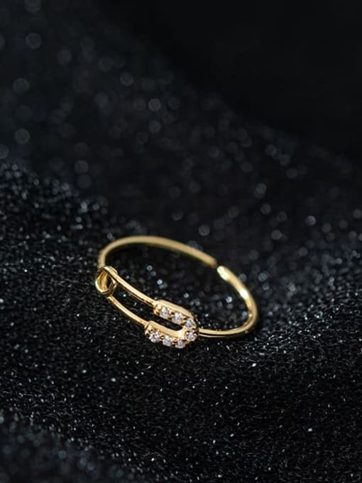 gold 925 Sterling Silver Rhinestone Geometric Minimalist Band Ring