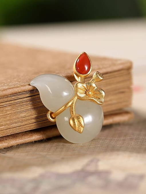White jade (excluding chain) 925 Sterling Silver Jade Cute Irregular Pendant