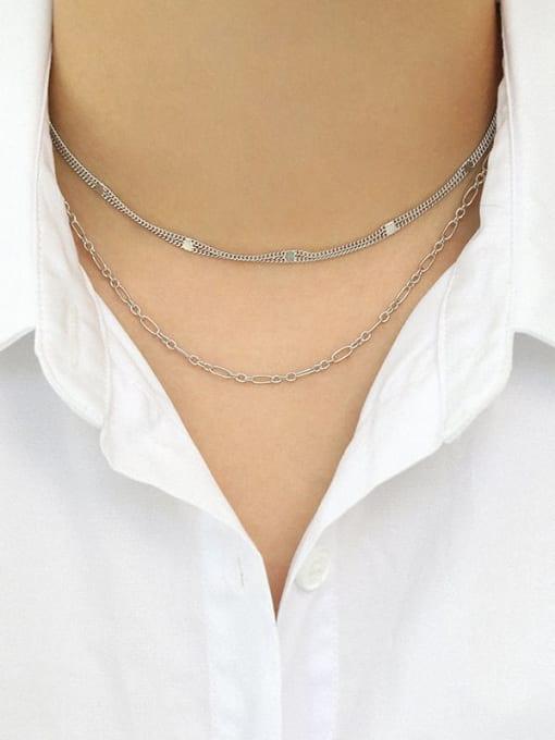 Dak Phoenix 925 Sterling Silver Irregular Minimalist Multi Strand Necklace 3