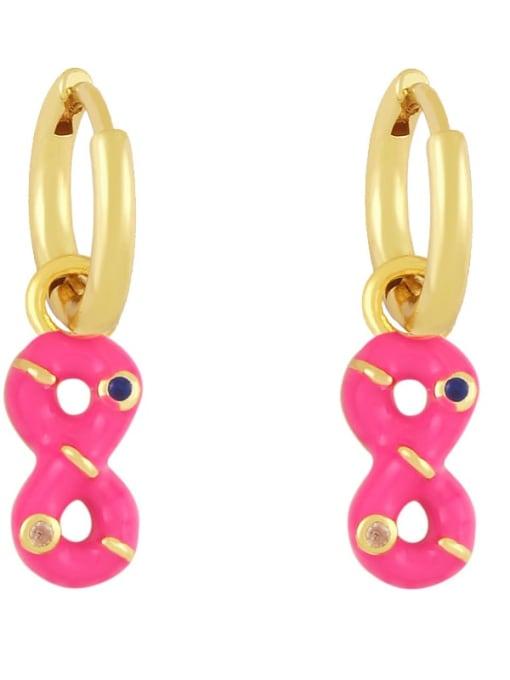 rose gold Brass Rhinestone Enamel Number 8 Trend Huggie Earring