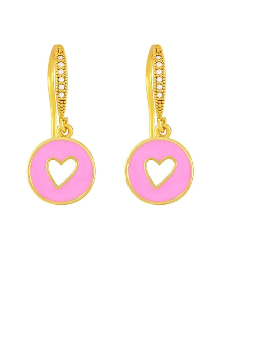 Pink Brass Enamel Heart Vintage Huggie Earring