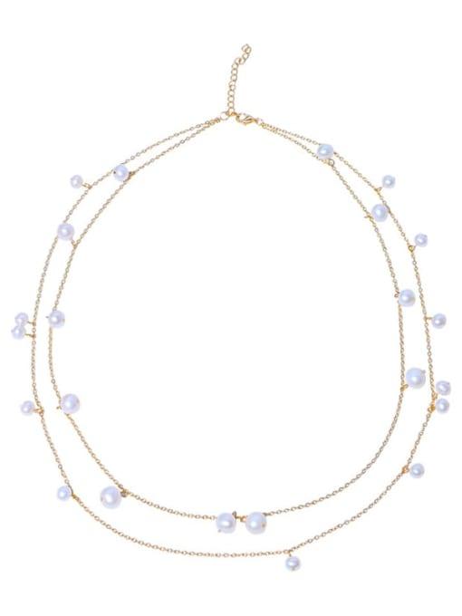 RAIN Brass Freshwater Pearl Geometric Minimalist Multi Strand Necklace