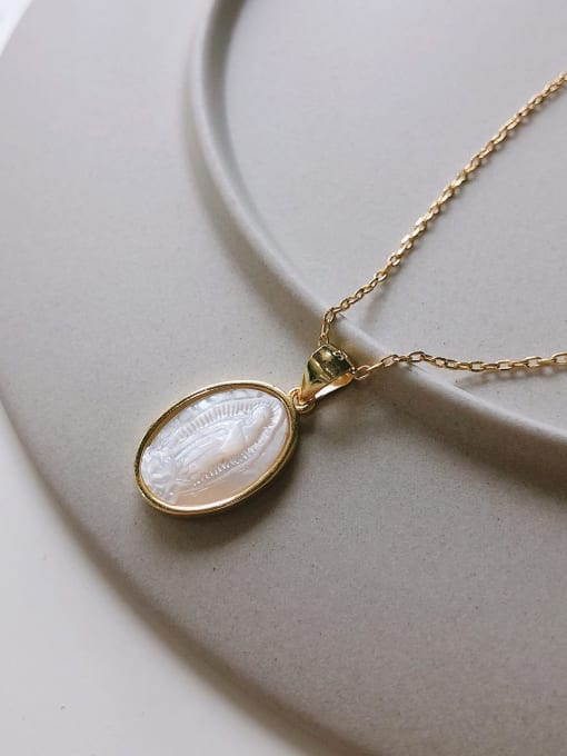Boomer Cat 925 Sterling Silver Shell Oval Minimalist Necklace 1