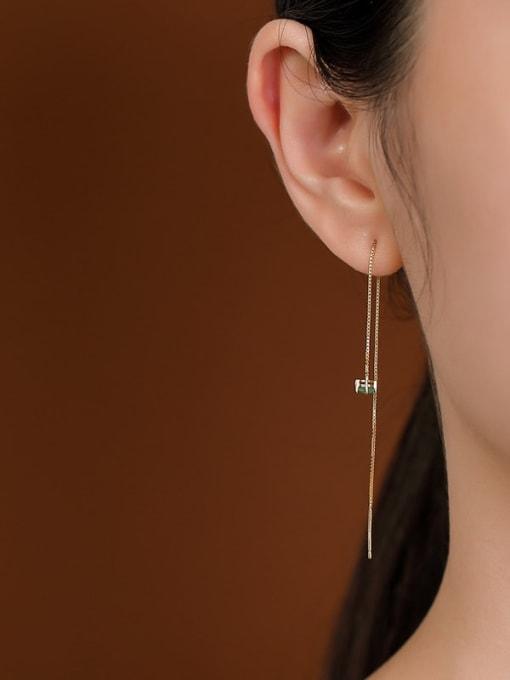 DEER 925 Sterling Silver Opal Geometric Minimalist Drop Earring 1