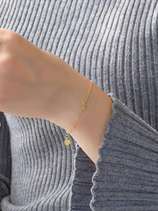 CHARME Brass Cubic Zirconia Star Minimalist Link Bracelet 2