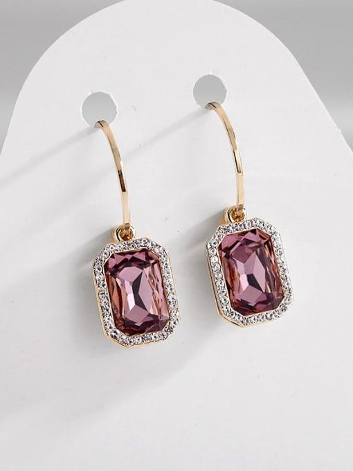 purple Brass Cubic Zirconia Geometric Trend Hook Earring