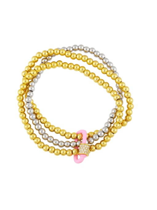 Pink Brass Bead Enamel Geometric Vintage Beaded Bracelet