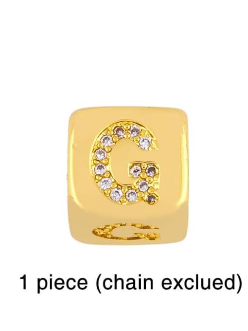 G Brass Cubic Zirconia square Letter Minimalist Adjustable Bracelet