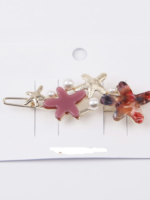 Scarlet Alloy Cellulose Acetate Minimalist Star  Hair Pin