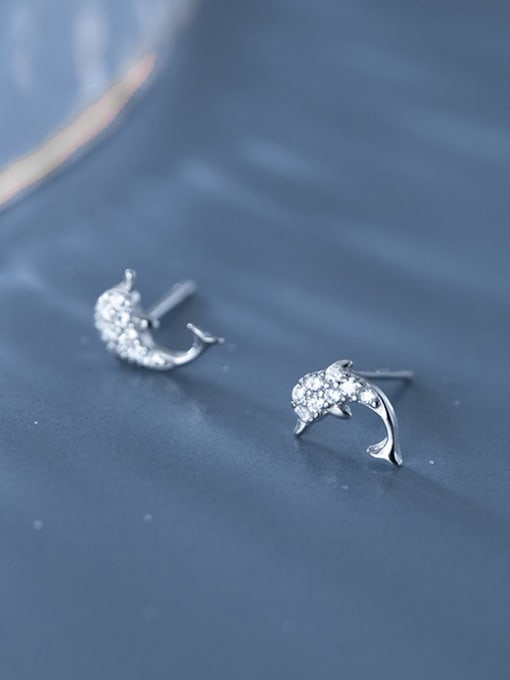 Rosh 925 Sterling Silver Cubic Zirconia Dolphin Cute Stud Earring 1