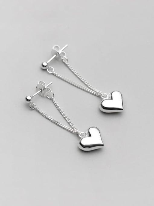 Rosh 925 Sterling Silver smooth Heart Minimalist Drop Earring 2