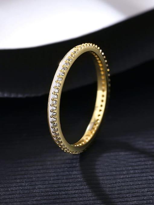 14K 13B09 925 Sterling Silver Cubic Zirconia Geometric Minimalist Band Ring