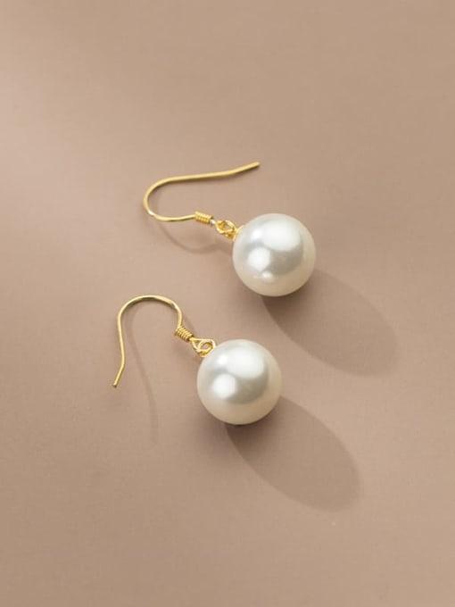 Rosh 925 Sterling Silver Imitation Pearl Ball Minimalist Hook Earring 0
