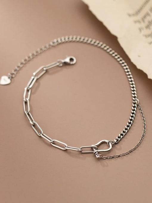 Rosh 925 Sterling Silver Asymmetry Irregular Vintage Link Bracelet 1
