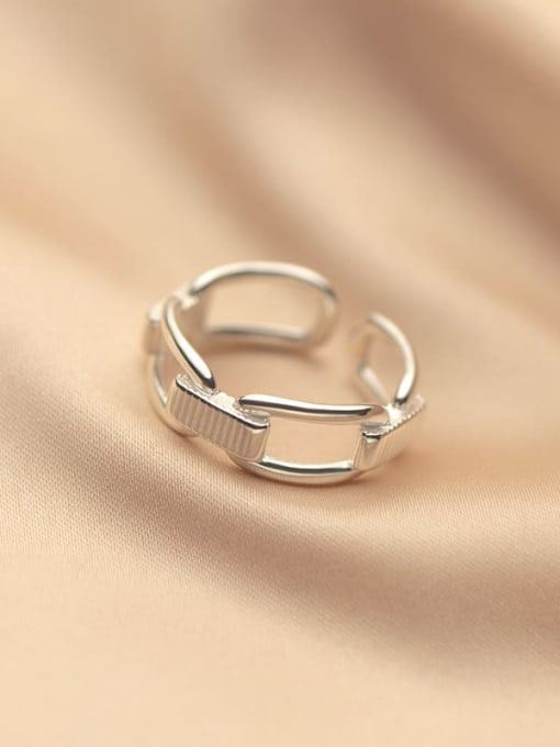 Rosh 925 Sterling Silver Hollow Geometric Vintage Band Ring 1