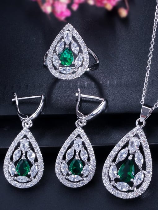 Green Ring Size 8 Drop Brass Cubic Zirconia Luxury Water  Earring and Necklace Set