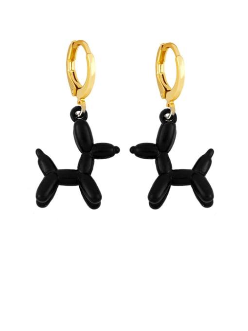 black Brass Enamel Dog Cute Huggie Earring
