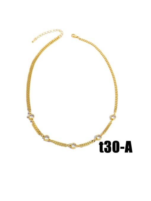 nkt30 A Brass Cubic Zirconia Tassel Vintage Necklace