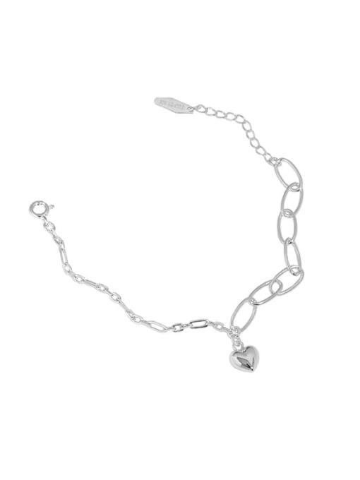 silver 925 Sterling Silver Heart Vintage Link Bracelet
