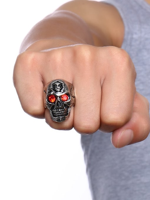 CONG Stainless steel Rhinestone Skull Vintage Band Ring 1