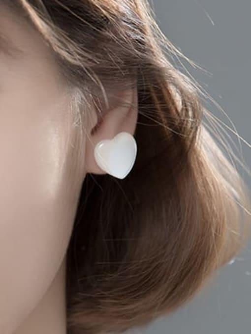 Rosh 925 Sterling Silver Cats Eye Heart Minimalist Stud Earring 1