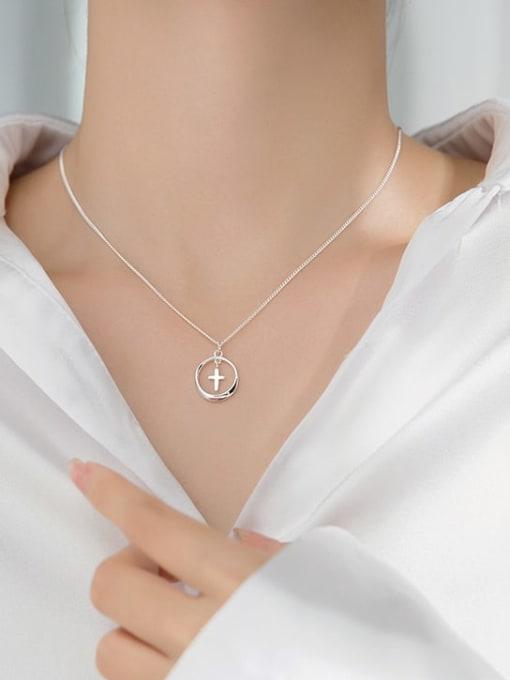 Rosh 925 Sterling Silver Cross Minimalist  pendant Necklace 1