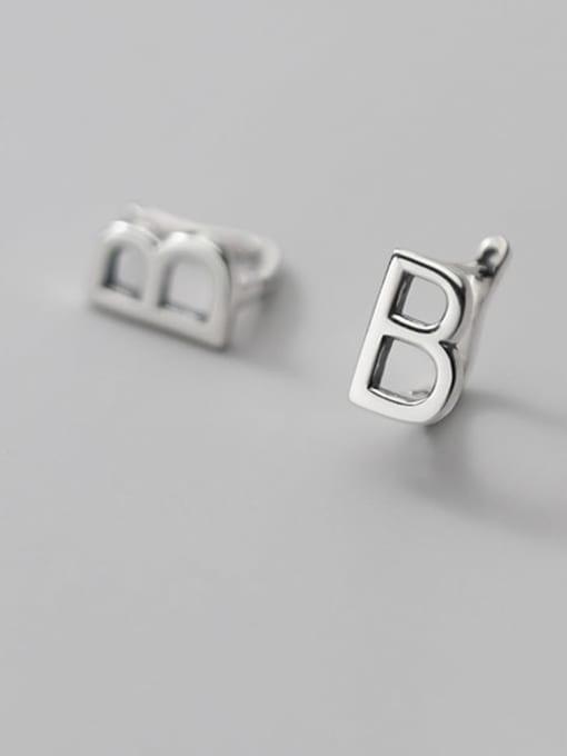 Rosh 925 Sterling Silver Letter Minimalist Stud Earring 2