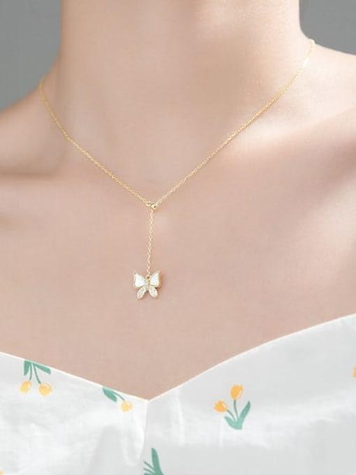 Rosh 925 Sterling Silver Shell Butterfly Minimalist Tassel Lariat Necklace 2