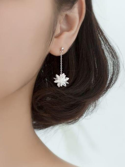 Rosh 925 Sterling Silver Imitation Crystal Flower Hip Hop Threader Earring 2