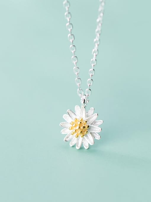 Rosh 925 Sterling Silver Simple Cute Little Daisy Pendant  Necklace