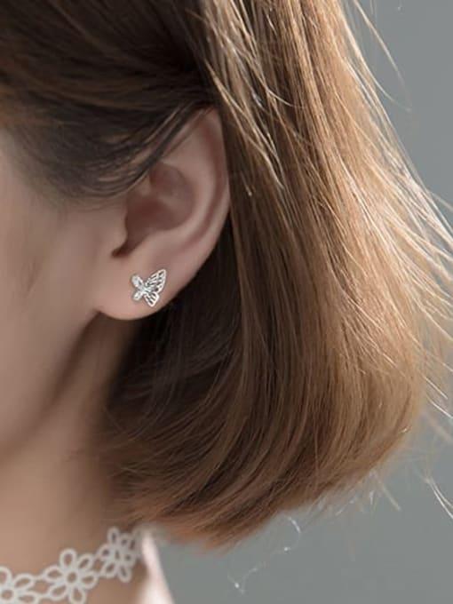 Rosh 925 Sterling Silver Rhinestone Butterfly Minimalist Stud Earring 2